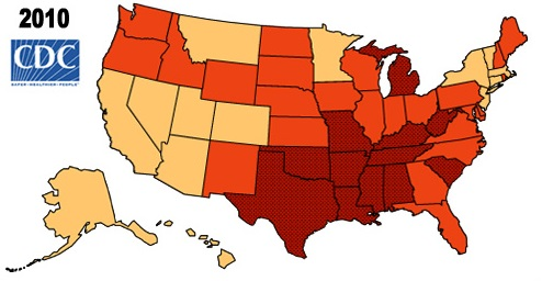 Comparing The Two Maps We Can See That The States With The Highest Obesity Rates Colored Red Also Have The Lowest Hles The Only Exception Is Michigan
